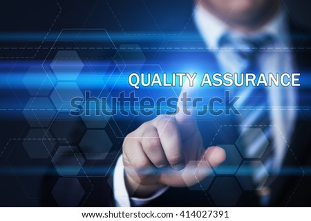 business, technology, internet and virtual reality concept - businessman pressing quality assurance button on virtual screens with hexagons and transparent honeycomb - stock photo