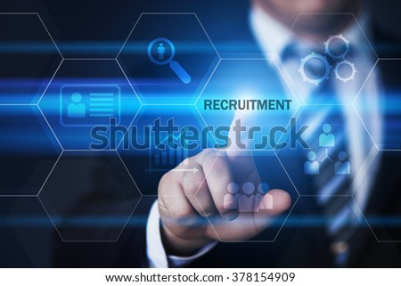business, technology, internet and virtual reality concept - businessman pressing recruitment button on virtual screens with hexagons and transparent honeycomb - stock photo