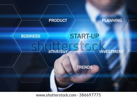business, technology, internet and virtual reality concept - businessman pressing start-up button on virtual screens with hexagons and transparent honeycomb