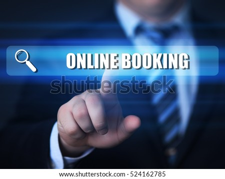 business, technology, internet concept. online booking text in search bar.