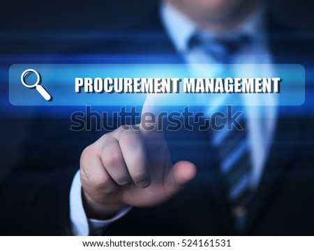 business, technology, internet concept. procurement management text in search bar.