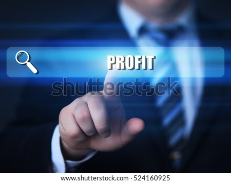 business, technology, internet concept. profit text in search bar.