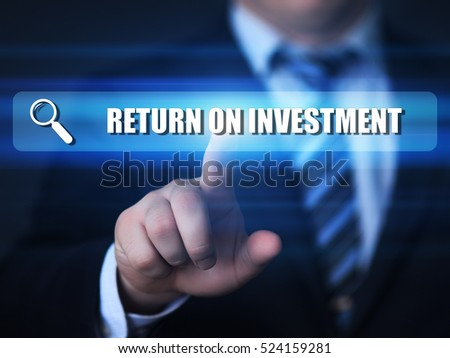 business, technology, internet concept. return on investment text in search bar.