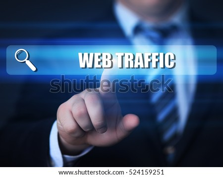 business, technology, internet concept. web traffic text in search bar.