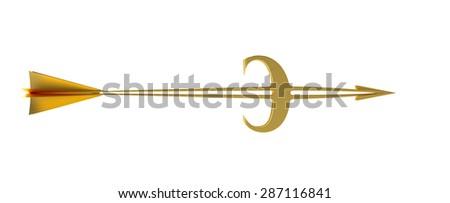 Business template. Goal. Golden arrow - euro. - stock photo