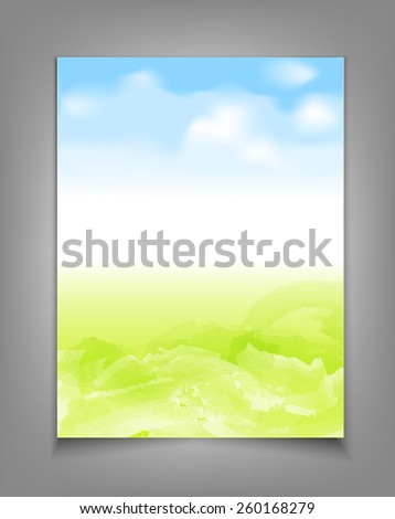 business template with blue sky and green grass - stock photo