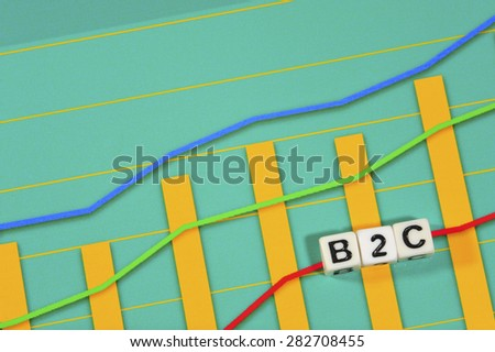 Business Term with Climbing Chart / Graph - B2C - Business To Customer - stock photo