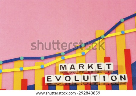 Business Term with Climbing Chart / Graph - Market Evolution - stock photo