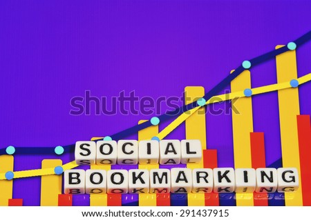 Business Term with Climbing Chart / Graph - Social Bookmarking
