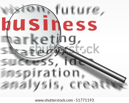 business text and metal magnifying glass (lupe) over a  white sheet