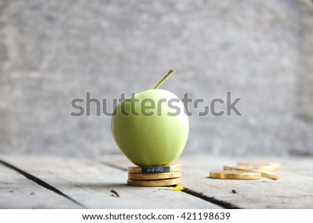 business text, coins and apple  - stock photo