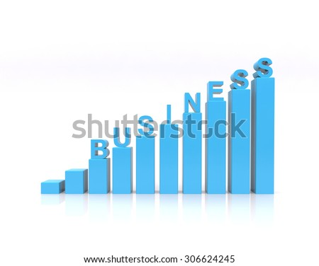 Business text on growth chart. - stock photo