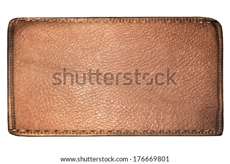Business texture of leather light black and brown suede blank label close up view isolated over white background, perspective and successful concept of promotion products, denim elements and items