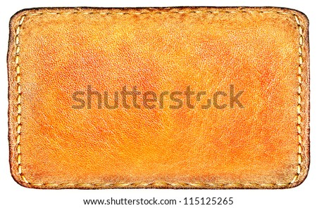 Business texture of leather yellow and blank brown label close up view isolated over white background, perspective and successful concept of promotion products and items - stock photo
