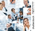 Business  theme  photo collage composed of different images - stock