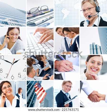 Business  theme  photo collage composed of different images