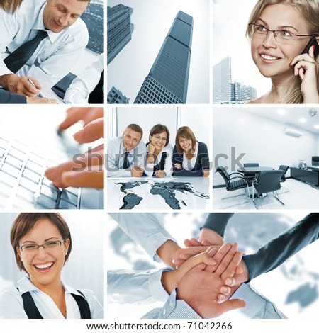 business theme photo collage composed of few images