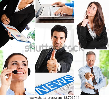 Business themed collage illustrating work, communication, finance and technology - stock photo