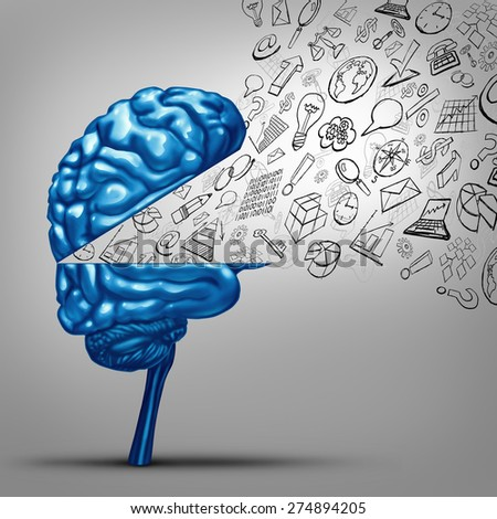 Business thoughts and financial vision concept as an open human brain with office icon symbols as charts graphs and objects as a metaphor for marketing success training and strategy communication. - stock photo