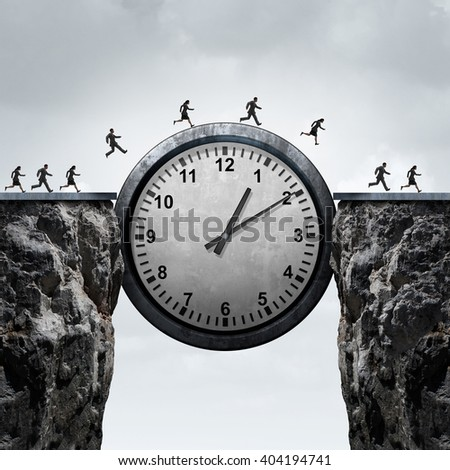Business time concept as a group of running businessmen and businesswomen using a giant clock to cross over a cliff as a bridge as a metaphor for schedule and appointment speed as a 3D illustration. - stock photo