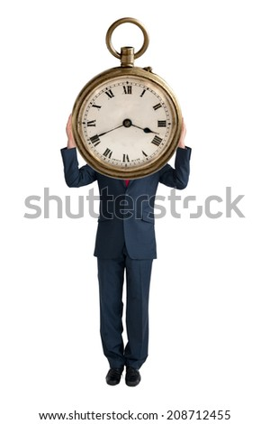business time concept businessman with clock isolated on white background - stock photo