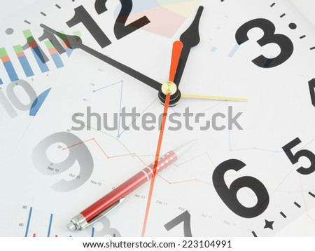 Business time concept with clock and documents  - stock photo