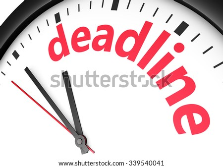 Business time limit concept with a clock and deadline word and sign printed in red 3d render image. - stock photo