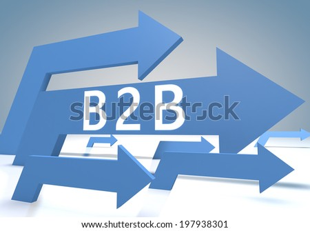 Business to Business 3d render concept with blue arrows on a bluegrey background. - stock photo