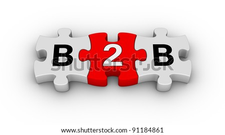 business to business jigsaw puzzle symbol - stock photo