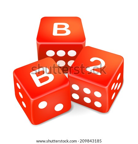 business to business words on three red dice over white background - stock photo