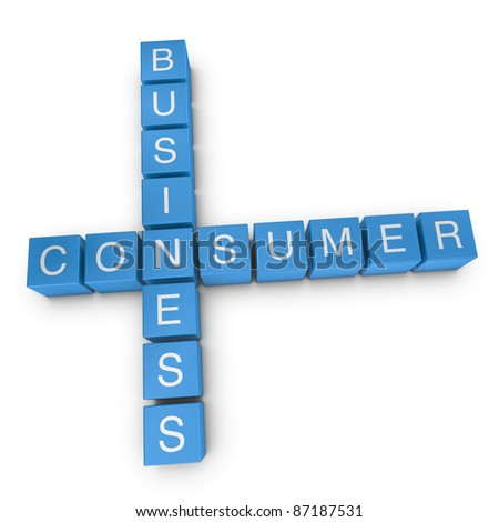 Business-to-consumer crossword on white background, 3D rendered illustration