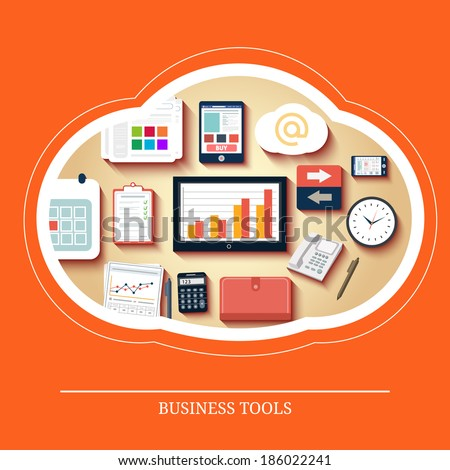 Business tools. Flat design long shadow concept connected mobile devices. Raster version - stock photo
