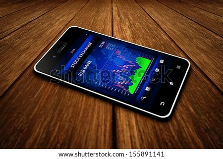 business touchscreen mobile phone with stock exchange market financial application