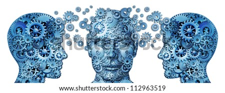 Business training and corporate management education programs with human heads made of gears and cogs exchanging ideas and knowledge to train and educate the mind for career success on white. - stock photo