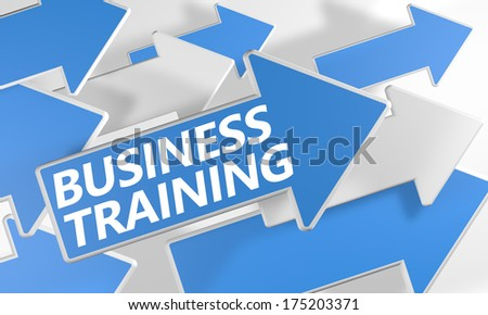 Business Training 3d render concept with blue and white arrows flying over a white background. - stock photo