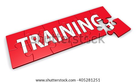 Business training development concept with sign and word on a red puzzle 3D illustration isolated on white background.