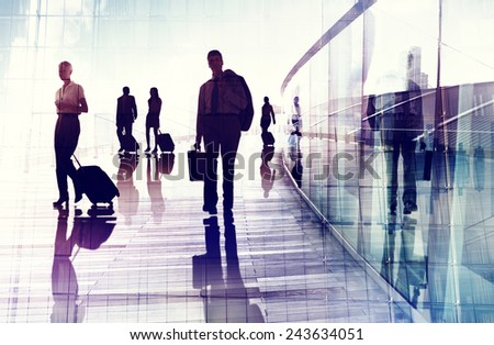 Business Travel Airport Commuter Corporate Professional Occupation Concept - stock photo
