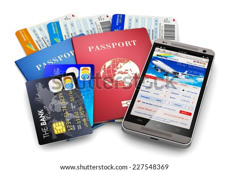 Business travel and tourism concept: air tickets or boarding pass, passports, smartphone with online airline tickets booking or reservation internet application and credit cards isolated on white - stock photo