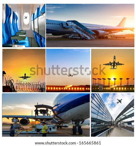 business travel background about airplane,the concept about passenger traveling. - stock photo