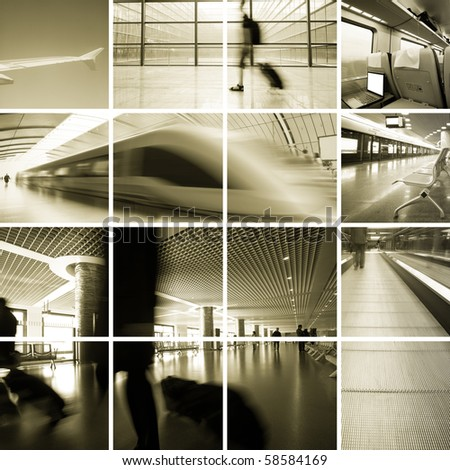 Business Travel Photo Collection,scene of the subway station and airport . - stock photo
