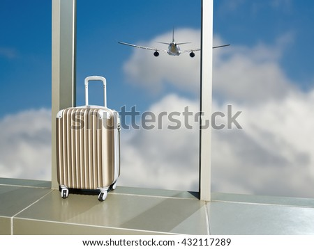 business travel,suitcase on window in airport against cloud sky with airplane in top view