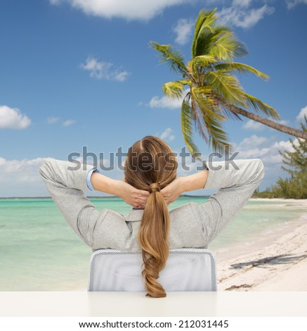 business, travel, tourism, vacation and people concept - businesswoman or teacher sitting on chair from back over tropical beach background - stock photo