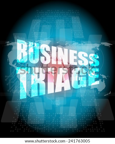 business triage words on touch screen interface - stock photo