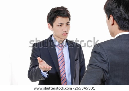 Business two young man in trouble on white background - stock photo
