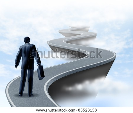 Business uncertainty and risk showing a winding road high above the clouds showing the concept of danger and challenges faced in business and the corporate world of finance and financial services.