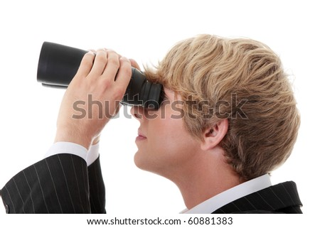 Business Vision concept - young man with binoculars isolated on white - stock photo