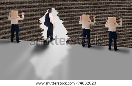 Business vision - leader with a clear view of strategy - stock photo