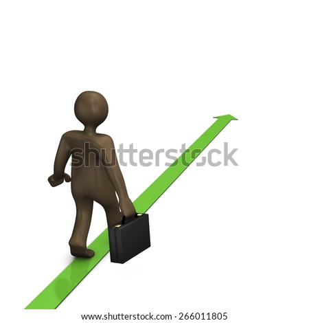 Business way, 3d illustration with black cartoon character - stock photo