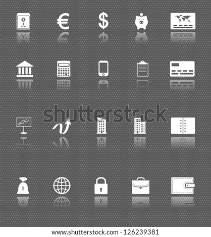 business web icons set with reflections on dark background. money and finance. raster version, vector file also available in gallery - stock photo