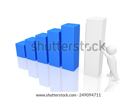 business white man with the sales graph. - stock photo